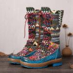 Оригинал              SOCOFY Embossed Splicing Colorful Шерстяная молния на шнуровке с круглым носком на плоской подошве Ботинки