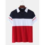 Оригинал              Мужская цвет блока лоскутное вскользь с коротким рукавом гольф Рубашка