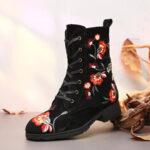Оригинал              SOCOFY Вышитый Шаблон All Black Winter Warm Cozy Zipper Lace Up Flat Ботинки
