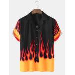 Оригинал              Мужские рубашки с пламенным принтом Revere Collar Свободные повседневные рубашки с коротким рукавом