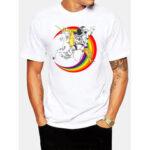 Оригинал              Мужская 100% хлопок Astronaut Planet Print Круглый Шея Повседневные футболки с коротким рукавом