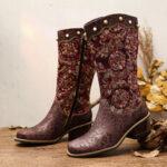 Оригинал              SOCOFY Вышитая Шаблон Жемчужное украшение Sofy Side-молнии Ботинки