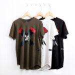Оригинал              Мужская повседневная футболка Cross Шаблон Тонкий Fit Футболка с короткими рукавами Спортивная экипировка Шея Топы Мужская одежда