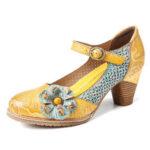 Оригинал              SOCOFY Туфли-лодочки на массивном каблуке с кожаной пряжкой и ремешком на щиколотке с цветочным рисунком Mary Jane Платье Обувь