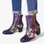 Оригинал              SOCOFY Ladies Splicing Floral Шаблон Круглый носок Теплая молния на подкладке Челси до середины икры Ботинки