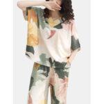 Оригинал              Плюс Размер Женское 100% хлопок с цветочным принтом с двумя кусочками пижамы