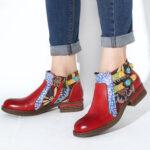 Оригинал              SOCOFY Кожа с цветочным рисунком Шаблон Нескользящая пятка с круглым носком и застежкой-молнией до щиколотки Chelsea Ботинки