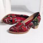 Оригинал              SOCOFY Натуральная Кожа Bloom Rose Шаблон Удобные элегантные повседневные туфли Платье