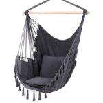Оригинал              Макс 330 фунтов / 150 кг подвесное кресло-гамак Веревка качели с 2 подушками в комплекте Большое подвесное кресло с кисточками и карманом
