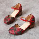 Оригинал              SOCOFY Ретро Кожаные туфли на каблуке с пряжкой