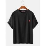 Оригинал              Вышивка молнией вокруг Шея дышащие футболки с коротким рукавом