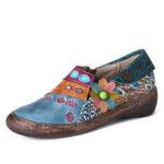 Оригинал              SOCOFY Retro Colorful Необычные кожаные туфли на молнии с цветочным рисунком Шаблон