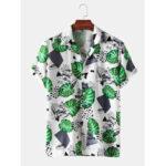 Оригинал              Mens Растение Лист Печатные легкие повседневные рубашки с короткими рукавами и воротником Revere