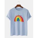 Оригинал              Радужный принт 100% хлопок дышащая футболка с коротким рукавом