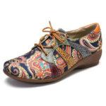 Оригинал              SOCOFY Туфли на плоской подошве со шнуровкой и круглым носком в народном стиле с цветочным узором и узором пейсли Retor