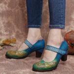 Оригинал              SOCOFY Винтаж Кожа с контрастными вырезами Крюк Туфли-лодочки Mary Jane на массивном каблуке с ремешком и ремешком Платье Обувь