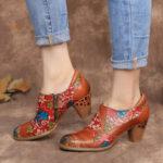 Оригинал              SOCOFY Кожаные туфли-лодочки на массивном каблуке с цветочным швом на молнии Платье Обувь