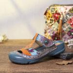 Оригинал              SOCOFY Кожаный цветочный вырез Регулируемый ремешок из бисера Слипоны Mules Плоские горки Сандалии
