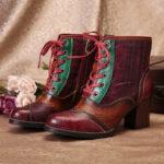 Оригинал              SOCOFY Женская строчка с круглым носком, на высоком каблуке, на шнуровке, молния, боевая Ботинки