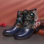 Оригинал              SOCOFY Stylish Tribal Шаблон Сращивание на теплой подкладке на блочном каблуке и молнии до щиколотки Ботинки