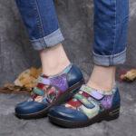 Оригинал              Комфортные туфли на плоской подошве SOCOFY Retro Coloured Flowers Embossed Натуральная Кожа