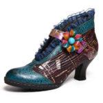Оригинал              SOCOFY Lace Натуральная Кожа Элегантные туфли-лодочки на низком каблуке с цветочным рисунком