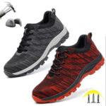 Оригинал              Мужская походная обувь со стальным носком, рабочая защитная обувь, сетчатая обувь на шнуровке, нескользящая безопасная обувь для предотвр
