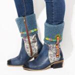 Оригинал              SOCOFY Имитация барашка Волосы Цветок Шаблон Цветок для вышивки кожи Шаблон Comfy Flat Ботинки