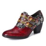 Оригинал              SOCOFY Кожаные туфли-лодочки с квадратным носком на низком каблуке и ремешке с металлической тисненой пряжкой в стиле ретро с цветочным рисун