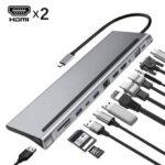 Оригинал              Bakeey 12 В 1 Type-C док-станция USB-концентратор с USB-C * 3 / VGA / 3,5 мм Аудио / HDMI / RJ45 / SD / TF / USB3.0 * 3 Адаптер быстрой зарядки для ноутбука Tablet Macbook