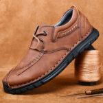 Оригинал              Мужская ретро рука шить воловья кожа без скольжения Soft подошва повседневная обувь