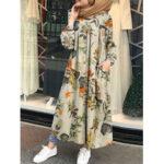 Оригинал              Цветочный узор Лист Кафтан-туника макси с принтом спереди на пуговицах Платье с боковыми карманами