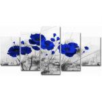 Оригинал              5 шт. Современная настенная картина на холсте красный синий фиолетовый чернила цветок мака украшение дома
