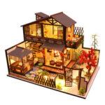 Оригинал              Деревянный DIY двор Кукла домик миниатюрный Набор сборная игрушка ручной работы с Светодиодный пылезащитный чехол для подарочной коллекци