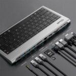 Оригинал              QGeeM 11 в 1 Адаптер для док-станции концентратора USB-C с алюминиевым сплавом Клавиатура / 4K HDMI HD Дисплей/1080P VGA / 100 Вт USB-C PD3.0 Подача питания / Порт п