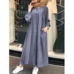 Оригинал              Женщины Повседневная полосатая пуговица с длинным рукавом и боковым карманом Рубашка Макси Платье