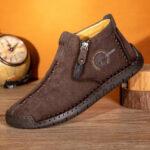 Оригинал              Мужской вельвет ручной шить кожаный повседневный лодыжки Ботинки