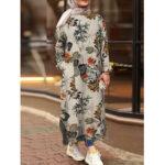 Оригинал              Богемный цветочный принт Лист Хлопковая туника с разрезом по краю кафтан Мусульманское платье