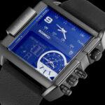 Оригинал              BOAMIGO F920 3 часовых пояса Военный Стиль LED Двойные Дисплей Часы Кожаные Стандарты Спортивные мужские кварцевые часы