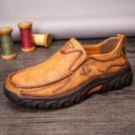 Оригинал              Мужчины Нескользящие На открытом воздухе Деловые повседневные кожаные туфли без шнуровки