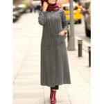 Оригинал              Зимние однотонные передние карманы Повседневная кафтановая туника Muslim Maxi Платье