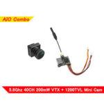 Оригинал              Eachine VTX02 + Foxeer Pico Razer Mini FPV Передатчик камера Комбинированный 5,8 ГГц 40CH 200 мВт VTX 1200TVL 12 * 12 мм CMOS Mini CAM SET Поддержка 3,2-5,5 В для RC Racing Дрон