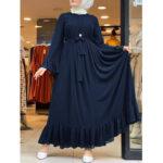Оригинал              Повседневный однотонный шифон с расклешенными рукавами на шнуровке, свободный мусульманский макси Платье