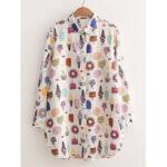 Оригинал              Женские хлопковые удобные свободные рубашки с принтом мороженого