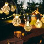 Оригинал              20/50 светодиодов хрустальный шар 5 м / 10 м Солнечная Лампа мощность светодиодная гирлянда сказочные огни Солнечная гирлянды Сад рождественс