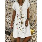 Оригинал              Женские повседневные платья миди из хлопка с цветочным принтом и V-образным вырезом с коротким рукавом