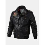 Оригинал              Куртки байкерского фронта застежки -молнии значка ПУ людей кожаные с карманами клапана