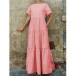 Оригинал              Повседневное многослойное макси в стиле реглан с принтом в клетку Платье с боковыми карманами