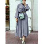 Оригинал              Женские элегантные передние карманы Дизайн Макси с нестандартным низом Платье