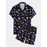 Оригинал              Мужская мультяшная галактика с принтом воротник с коротким рукавом на шнуровке повседневные рубашки шорты
